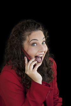 Woman On Phone Surprised Expression Royalty Free Stock Images
