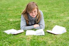 The Girl Reads The Book Stock Photography