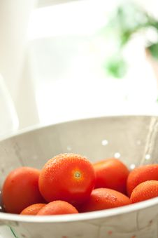 Free Fresh, Vibrant Roma Tomatoes In Colander With Wate Stock Photography - 15813952