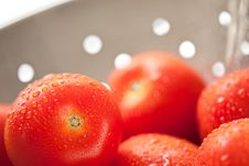 Free Fresh, Vibrant Roma Tomatoes In Colander With Wate Royalty Free Stock Images - 15813999