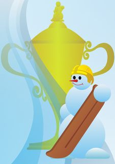 Prize Cup Snowboarder. Stock Photography