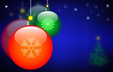 Free Christmas Balls On The Starry Sky Royalty Free Stock Photos - 15817328