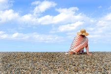Free Young Woman On The Beach Royalty Free Stock Image - 15817786