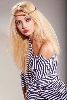 Free Woman And Striped Top Stock Image - 15818141