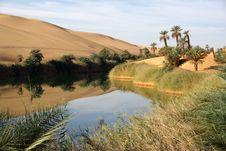 Lake In Libyan Desert Stock Image