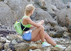 Girl On Seacoast Stock Images