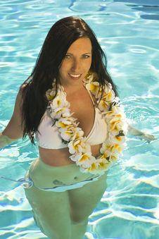 Free Beautiful Brunette Woman Wearing A Lei Stock Photography - 15819492
