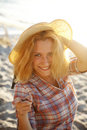Free Portrait Of Beautiful Blonde Girl In Cap Stock Images - 15824594