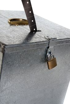 Metal Ballot Box With Padlock Ticket Voting Royalty Free Stock Image
