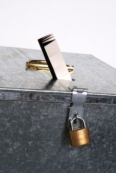 Vintage Ballot Box With Padlock Ticket Voting Stock Photography