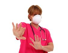 Nurse With Mask Staying Away Royalty Free Stock Photo