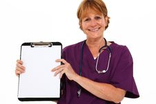 Free Smiling Nurse Holding Clipboard Stock Images - 15821104