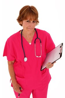 Free Nurse Looking Up Holding Clipboard Stock Images - 15821114