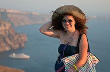 Free Teenage Model, Santorini Greece Royalty Free Stock Image - 15821366