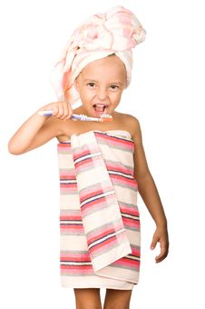 Free Happy Little Girl With Toothbrush Stock Images - 15821554