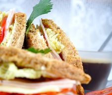 Fresh And Delicious Classic Club Sandwich Royalty Free Stock Photos