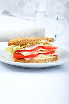 Fresh And Delicious Classic Club Sandwich Royalty Free Stock Photo