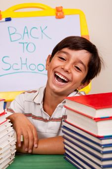 Free Smiling Boy With School Books Royalty Free Stock Images - 15822649