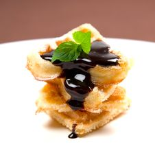 Waffle With Chocolate Royalty Free Stock Images