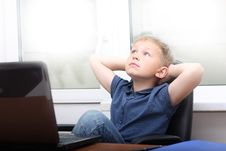 Free Young Boy  Near Laptop. Royalty Free Stock Image - 15822926