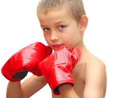 Free Young Boy Ready To Box Royalty Free Stock Photography - 15823037