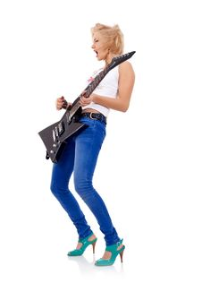 Free Blonde With A Guitar Royalty Free Stock Images - 15824469