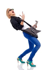 Energic Blond Girl With Guitar Stock Photo