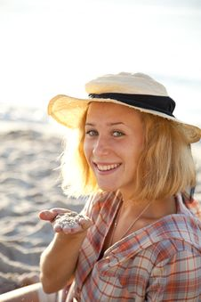 Portrait Of Beautiful Blonde Girl In Cap Stock Photos