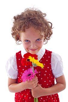 Girl Holding Bunch Of Gerabra Royalty Free Stock Photos
