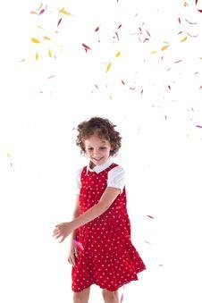 Free Girl Throwing Flower Petals Royalty Free Stock Photos - 15824578