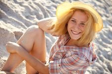 Portrait Of Beautiful Blonde Girl In Cap Stock Images