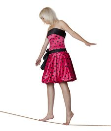 Woman Rope-walker Royalty Free Stock Image
