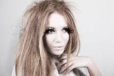 Free Exotic Looking Fashion Model With Long Eyelashes Royalty Free Stock Image - 15826236