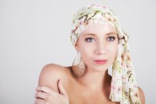 Free Beautiful Woman In A Colorful Headscarf Stock Photography - 15826282