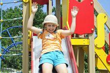 The Child On Playground Stock Photo