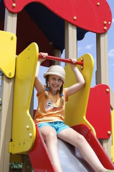 The Child On Playground Royalty Free Stock Photography