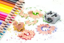 Free Sharpener With Colored Pencils Royalty Free Stock Images - 15828049