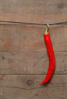Free Chili Pepper Hanging On Rope Stock Photography - 15828312