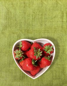 Free Strawberries In A Heart Shaped Bowl Stock Photography - 15828462