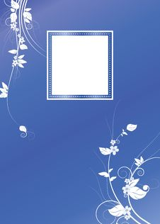 Blue Swirls  Floral Card Background Royalty Free Stock Photos