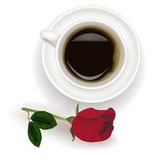 Free Top View Of Black Coffee Cup With Red Rose. Stock Photography - 15829772