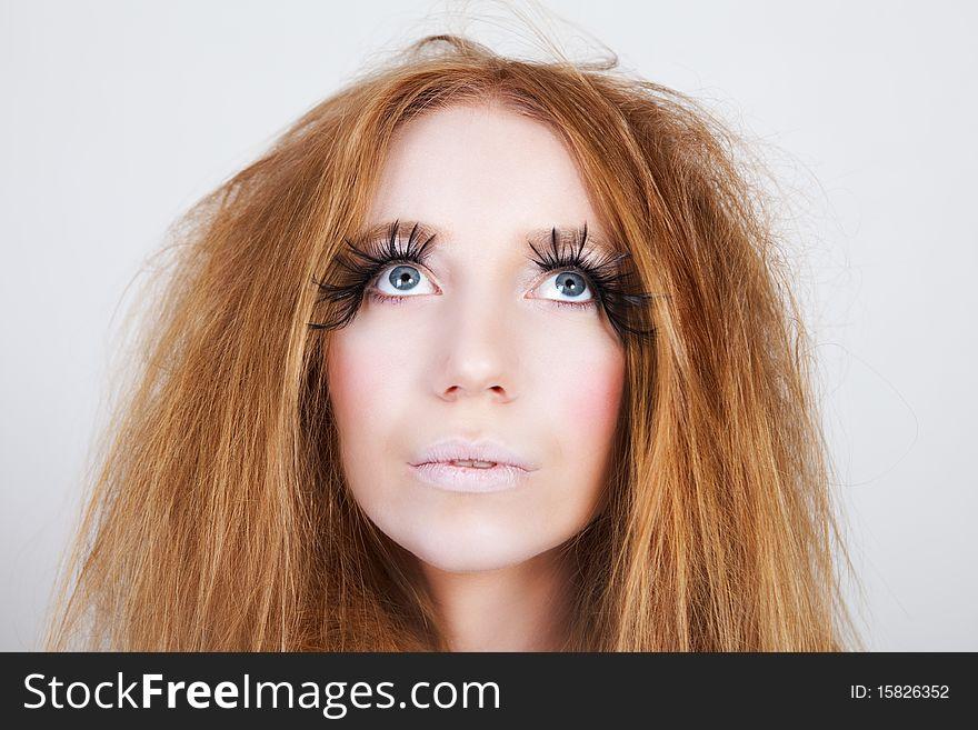 Exotic Looking Fashion Model With Long Eyelashes Free Stock Images