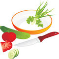 Free Cutting Of Vegetables And Greenery For Lettuce Royalty Free Stock Photography - 15830127