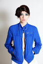 Free High Fashion Young Woman In A Blue Jacket Stock Photo - 15838510