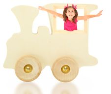 Free Toy Wooden Train With Girl Royalty Free Stock Images - 15830349