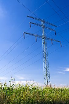 Free Power Lines Over Blue Sky Royalty Free Stock Photography - 15830437