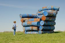 Free Blue, Big Chair Of Barrels Royalty Free Stock Photography - 15833337