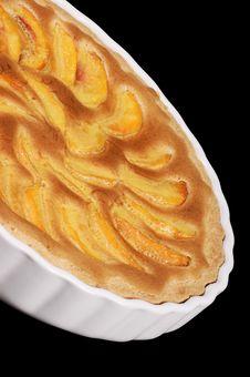 Peach Tart In A White Pottery Cake Tin Royalty Free Stock Photos