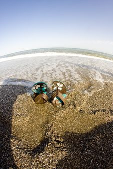Free Flip Flops On The Beach Fisheye Look Stock Images - 15834354
