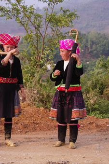 Free Two Young Women Flowered Hmong Stock Photos - 15837763